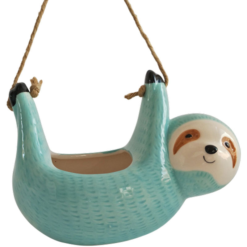 Sloth Hanging Ceramic Planter - Blue
