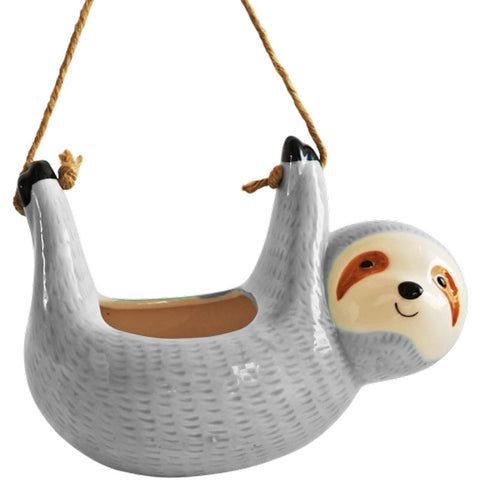 Sloth Hanging Ceramic Planter - Grey
