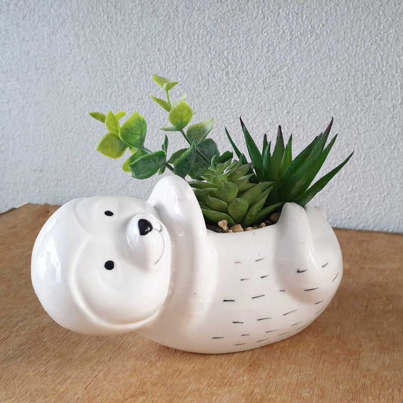 Sloth Planter With Succulents - The Chic Nest