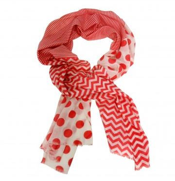 Red and White Spots and Stripes Scarf - The Chic Nest