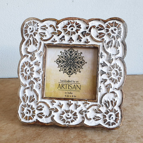 Whitewashed Wooden Photo Frame 4 x 4