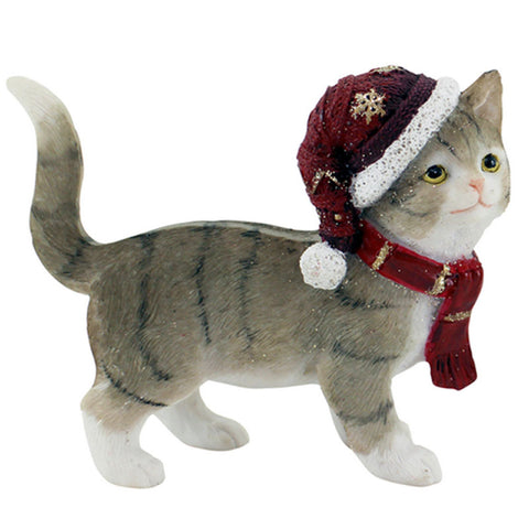 Standing Grey Cat Christmas Figurine