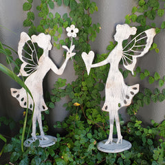 Standing Metal Garden Fairy With Heart - The Chic Nest