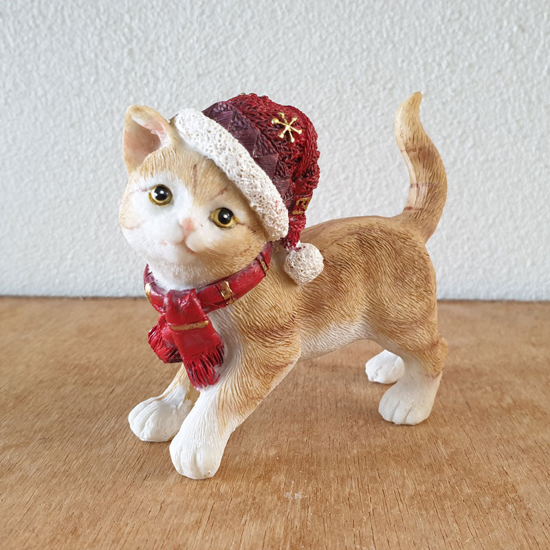 Standing Ginger Cat Christmas Figurine - The Chic Nest