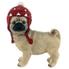 Standing Pug With Beanie Christmas Ornament