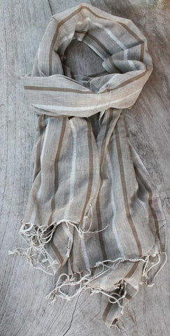 Striped Beige Scarf - The Chic Nest