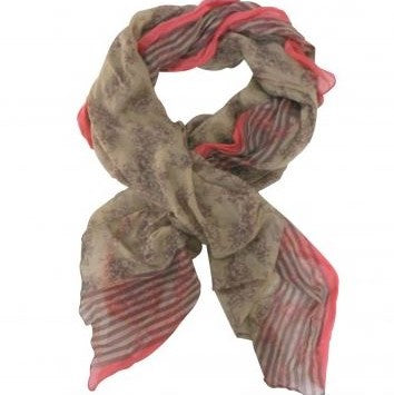 Taupe/Pink Floral Cotton Scarf - The Chic Nest