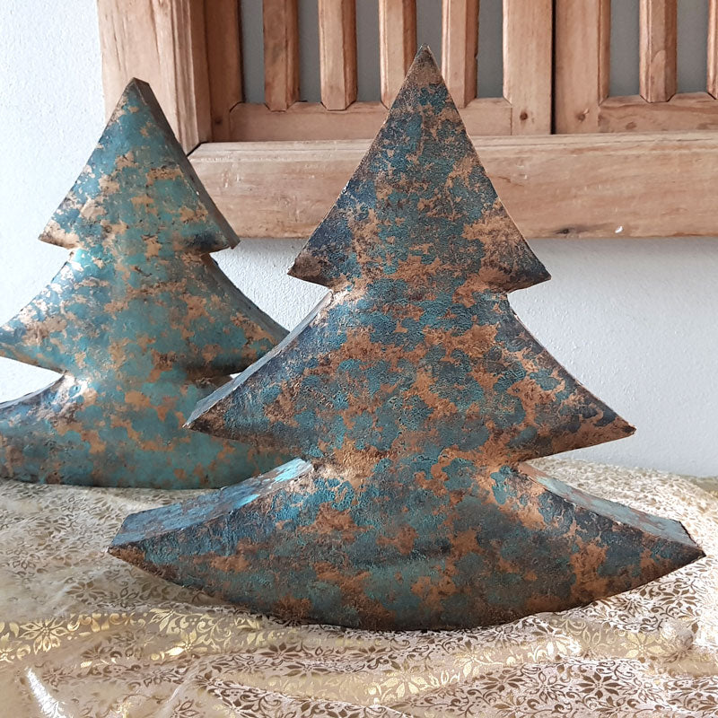 Teal/Gold Deco Christmas Tree - Large - The Chic Nest