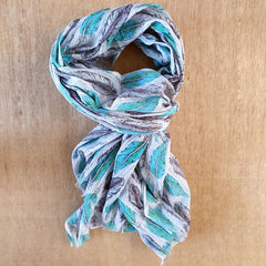 Teal & Grey Feather Print Scarf - The Chic Nest