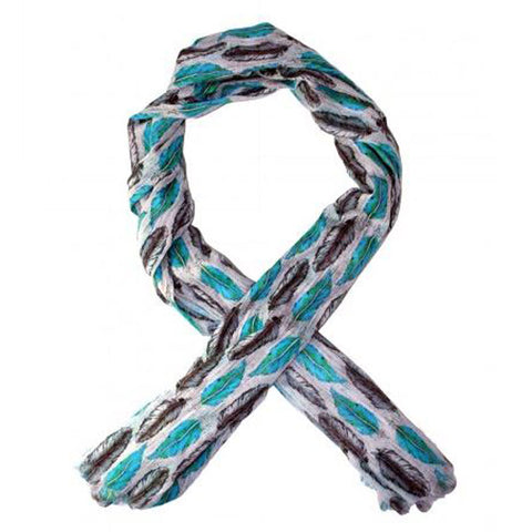 Teal & Grey Feather Print Scarf