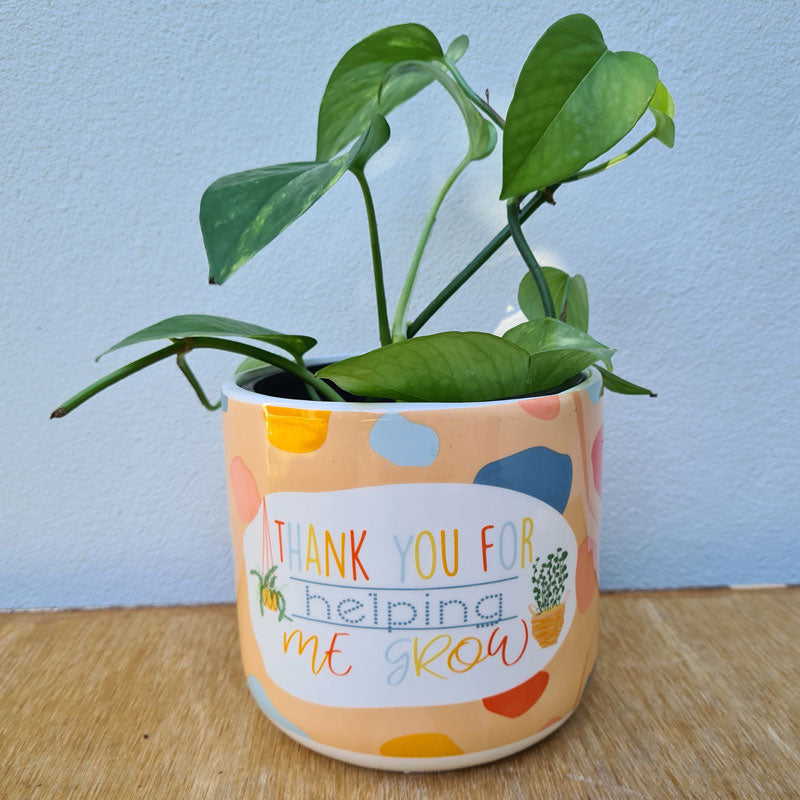 Thank You For Helping Me Grow Ceramic Planter