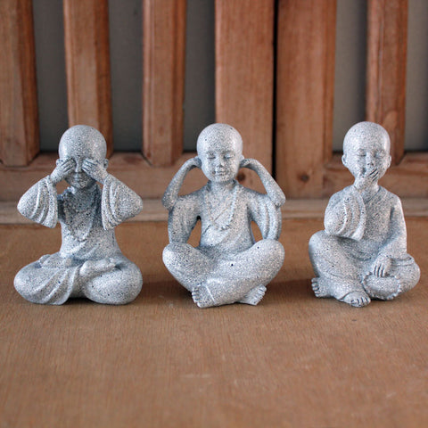 Three Wise Buddhas - Marble Black - The Chic Nest