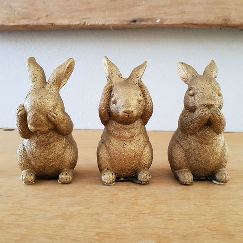Three Wise Bunnies - Gold