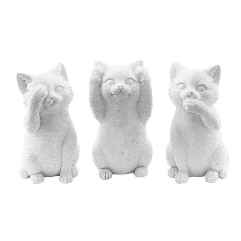 Three Wise Cats - White