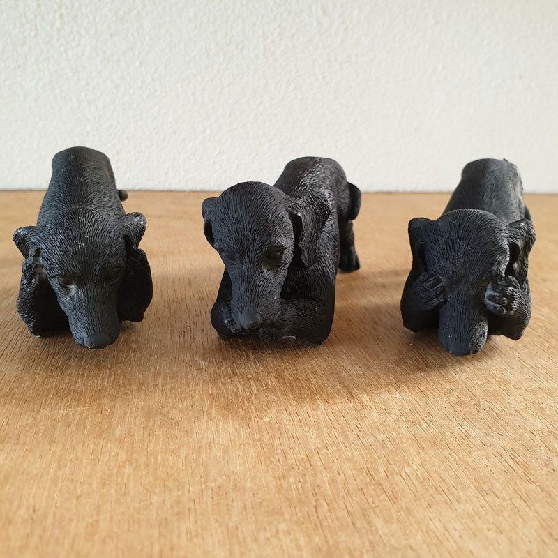 Three Wise Dachshunds - Black