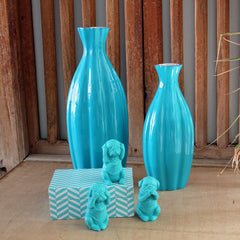 Aqua Curved Vase - The Chic Nest
