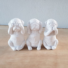 Three Wise Dogs - White