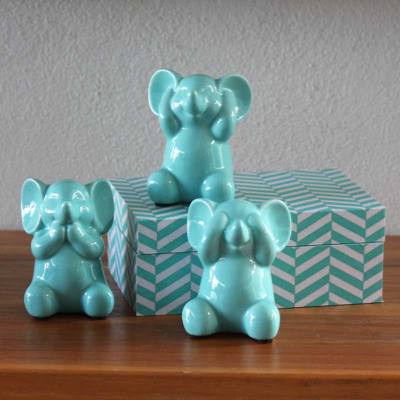Three Wise Elephants - Ceramic Mint