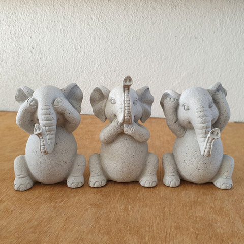 Three Wise Elephants - Marble Grey