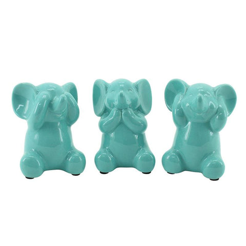 Three Wise Elephants - Ceramic Mint - The Chic Nest