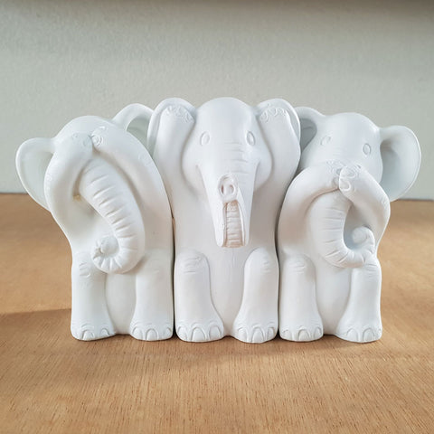 Three Wise Elephants - White