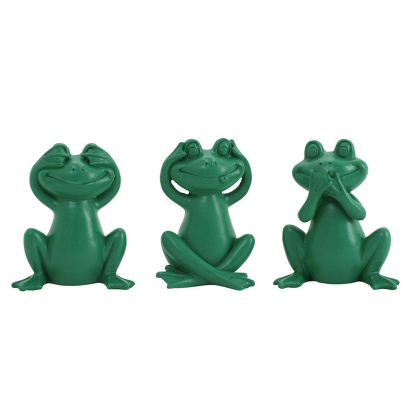 Three Wise Frogs - Green