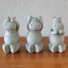 Three Wise Hippos - Grey