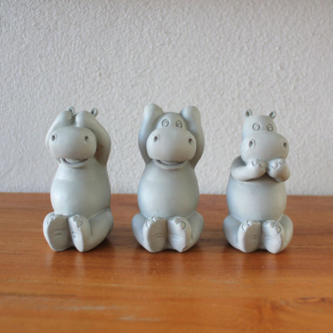 Three Wise Hippos - Grey - The Chic Nest