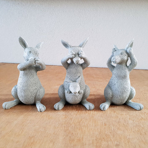 Three Wise Kangaroos -  Grey