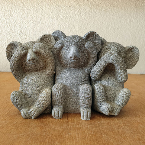 Three Wise Koalas - Marble Black