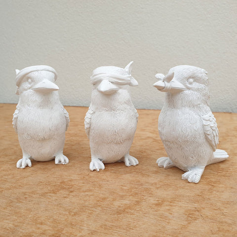 Three Wise Kookaburras - White