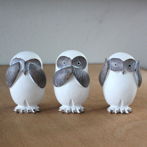 Three Wise Owls - See no evil, hear no evil, speak no evil - The Chic Nest