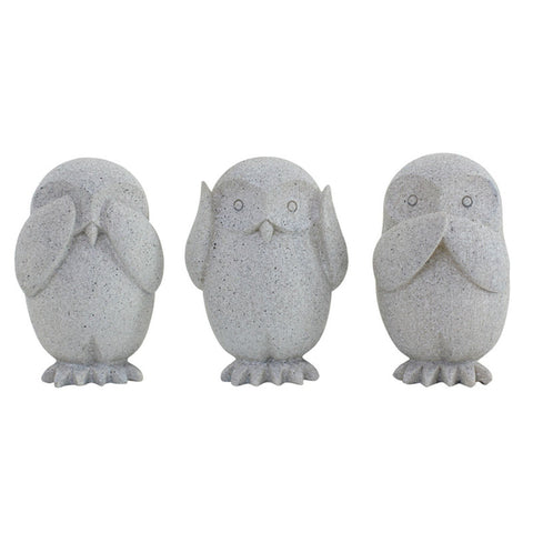Three Wise Owls Grey - See no evil, hear no evil, speak no evil