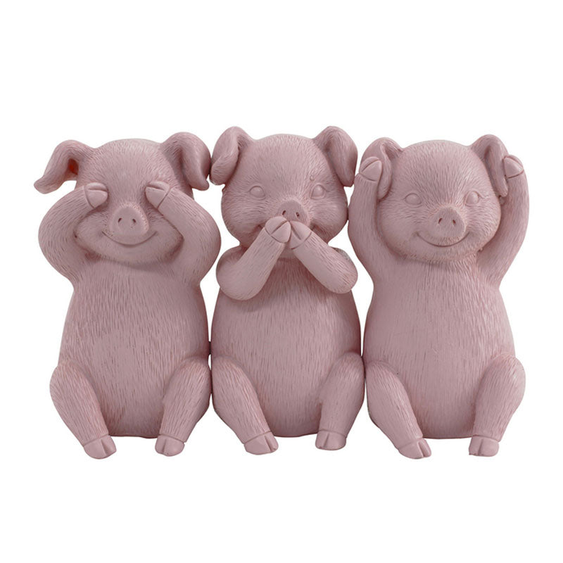 Three Wise Pigs - Pink