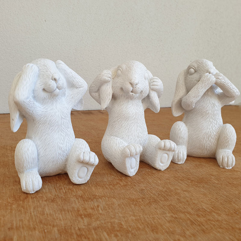 Three Wise Bunnies - White - The Chic Nest
