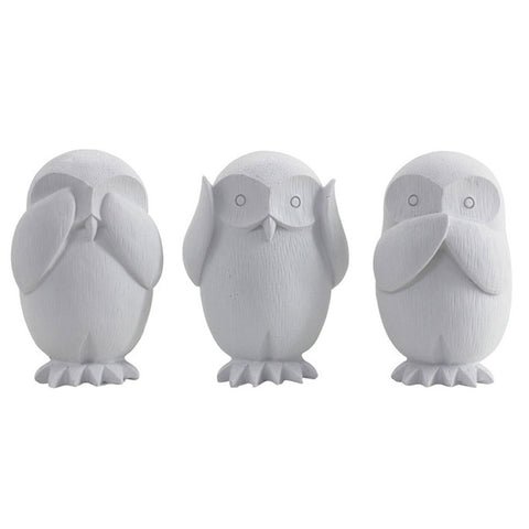 Three Wise Owls White - See no evil, hear no evil, speak no evil