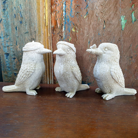 Three Wise Kookaburras - Stone