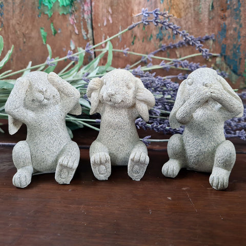 Three Wise Bunnies - Grey