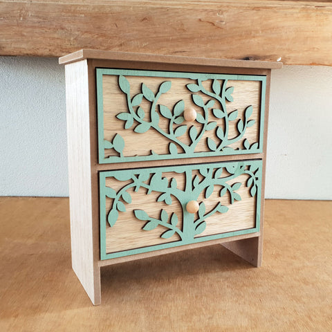 Tree of Life 2 Drawer Box - Green