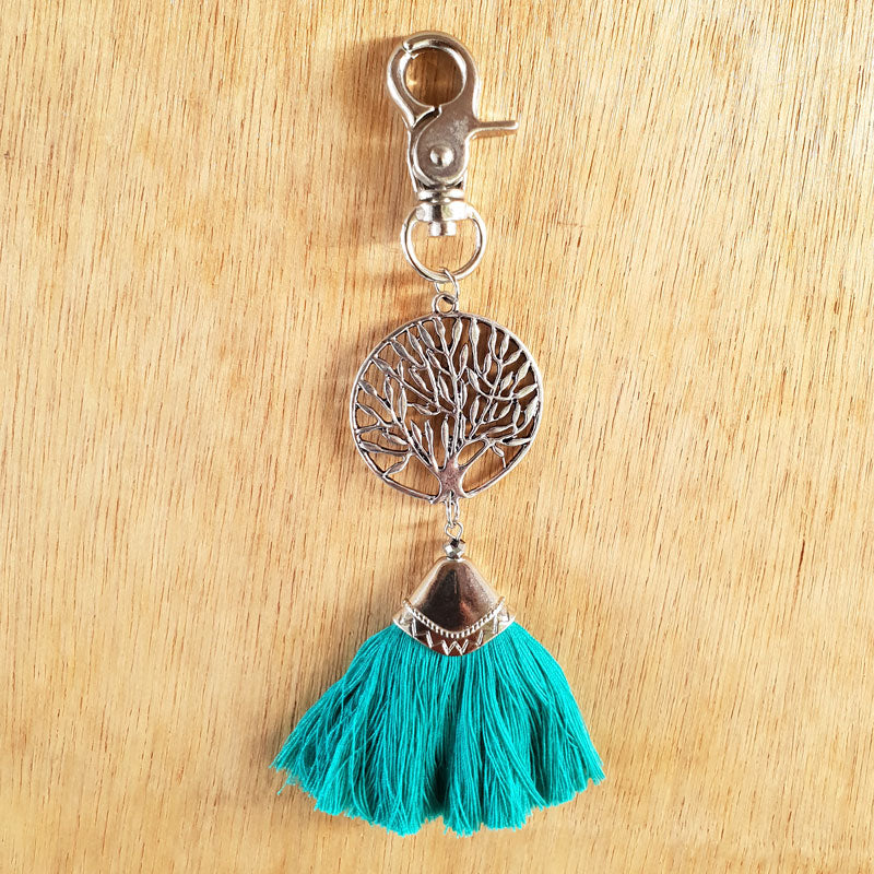 Tree of Life Key Ring - Turquoise/Silver