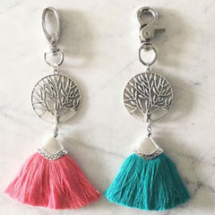 Tree of Life Key Ring - Pink/Silver