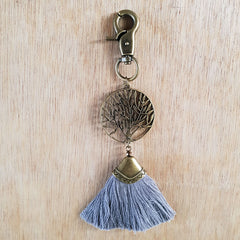 Tree of Life Key Ring - Grey/Bronze