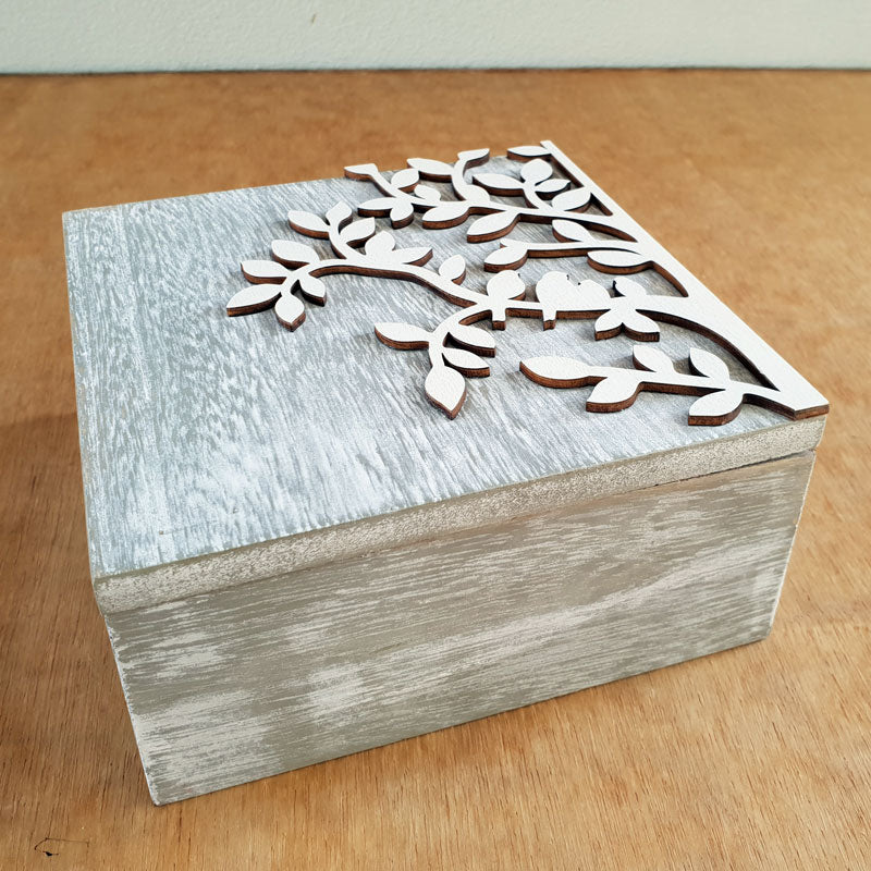 Set of 2 Tree of Life Boxes - Grey