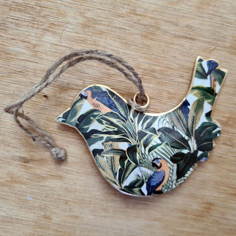 Tropical Metal Bird Ornament