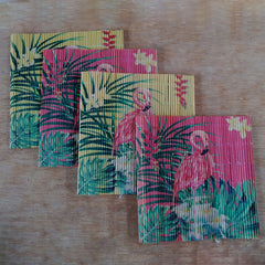 Tropical Flamingo Bamboo Coasters Set of 4