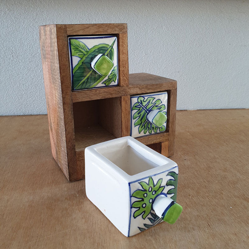 Tropical Palms 3 Drawer Step Box - The Chic Nest