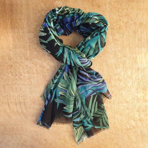 Tropical Palm Print Cotton Scarf