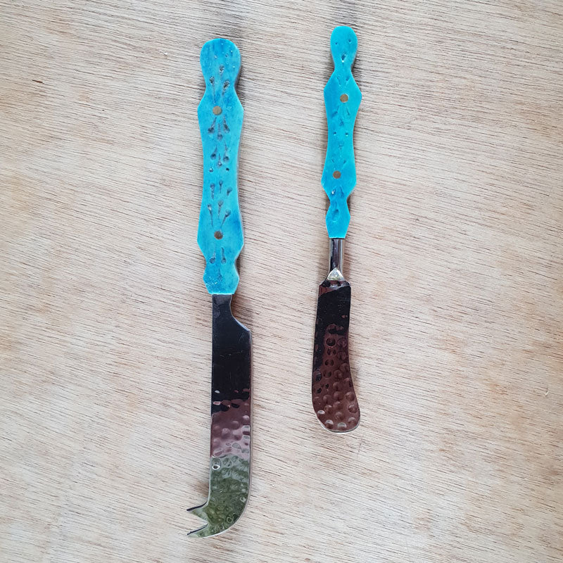 Turquoise Bone Pate Knife - Hammered Finish