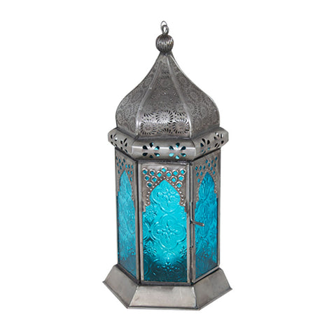 Decorative Turquoise Iron and Glass Lantern