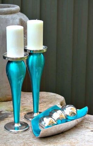 Turquoise Pillar Candle Holder - 31cm - The Chic Nest